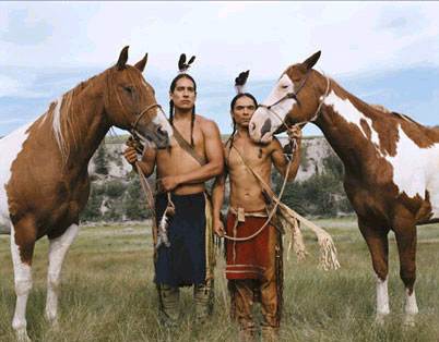 Zahn McClarnon Left: Michael Spears as Dog Star; Right:  as Running Fox.