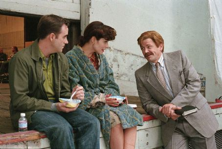 Christopher Moynihan as Brian Chubb, Parker Posey as Callie Webb, and John Michael Higgins as Corey Taft in director Christopher Guest's For Your Consideration.  Photo credit: Suzanne Tenner © 2006 Shangri-La Entertainment, LLC.
