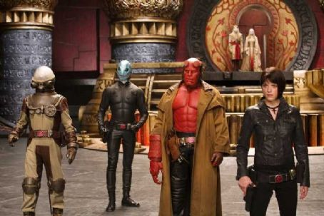 Doug Jones Two from right , Ron Perlman and Selma Blair in Universal Pictures' Hellboy 2: The Golden Army