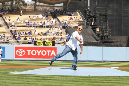 Michael Chiklis  (cast from Eagle Eye), of the upcoming film Eagle Eye throws out the first pitch at Dodger Stadium Sunday, September 21st.