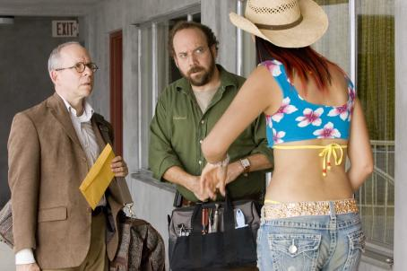 "Bob Balaban (Left to right) BOB BALABAN as Harry Farber, PAUL GIAMATTI as Cleveland Heep and CINDY CHEUNG as Young-Soon Choi in Warner Bros. Pictures' and Legendary Pictures' ""Lady In The Water,"" distributed by Warner Bros. Pictures. The film"