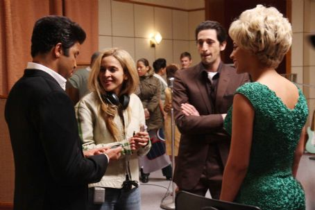 Leonard Chess (L to R) Jeffrey Wright, Director Darnell Martin, Adrien Brody and Beyoncé Knowles on the set of Sony BMG Film, Parkwood Pictures and Tristar Pictures' drama CADILLAC RECORDS. Photo credit: Eric Liebowitz. © 2008 Sony BMG Film. All rights reserved.