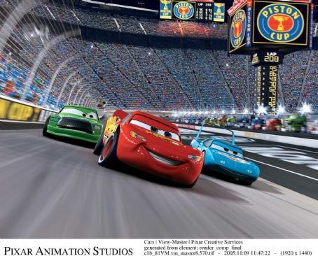 Richard Petty Chick Hicks (voiced by Michael Keaton), McQueen (voiced by Owen Wilson) and The King (voiced by )  in Buena Vista Pictures Distribution's Cars - 2006