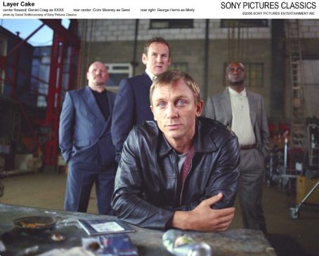 Colm Meaney Center forward: Daniel Craig as XXXX; Rear center:  as Gene; Rear right: George Harris as Morty; Photo by Daniel Smith/courtesy  of Sony Pictures Classics.
