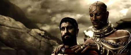 Xerxes Gerard Butler as Spartan King Leonidas with Rodrigo Santoro as King  in Warner Bros. Pictures adventure drama '300'