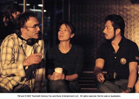 Danny Boyle From left: Director , Michelle Yeoh and Hiroyuki Sanada on the set of SUNSHINE. Photo Credit: Alex Bailey