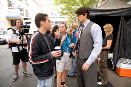 Bryan Singer Director  and Brandon Routh on the set of Warner Bros. Superman Returns - 2006