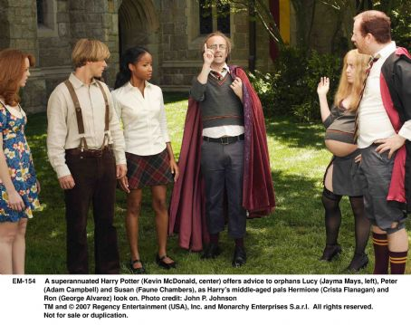 Hermione Granger A superannuated Harry Potter (Kevin McDonald, center) offers advice to orphans Lucy (Jayma Mays, left), Peter (Adam Campbell) and Susan (Faune Chambers), as Harry's middle-aged pals Hermione (Crista Flanagan) and Ron (George Alvarez) look on. Photo