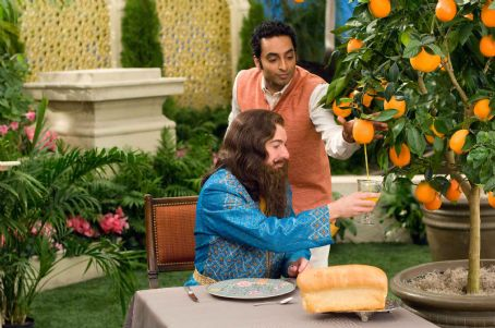 Rajneesh Mike Myers (left) is Guru Pitka and Manu Narayan (right) is  in the comedy 'The Love Guru.' Photo Credit: George Kraychyk. Copyright (c) 2008 by PARAMOUNT PICTURES. All Rights Reserved.
