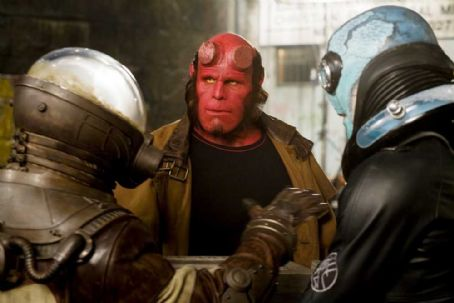 Doug Jones L to R: Thomas Kretschmann as Johann Kraus (voice), Ron Perlman as Hellboy and  as Abe Sapien in Hellboy 2: The Golden Army