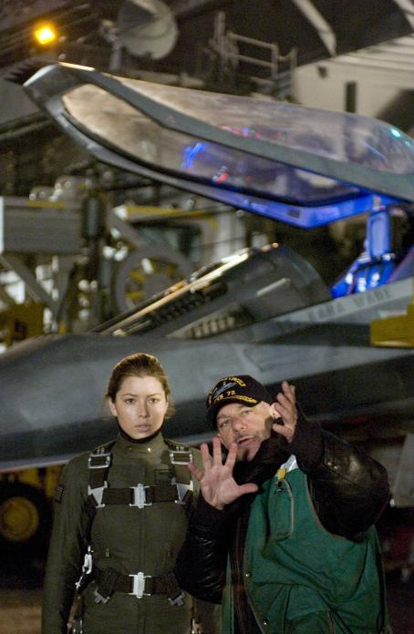 Jessica Biel (l) and director Rob Cohen on the set of Columbia Pictures' epic action adventure Stealth. Photo credit: Jasin Boland