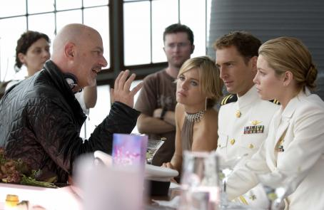 Rob Cohen (l to r) Director , Alexandra Davies, Josh Lucas and Jessica Biel on the set of Columbia Pictures' epic action adventure Stealth. Photo credit:  Jasin Boland