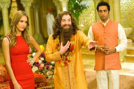 Rajneesh (Left to right) Jessica Alba plays Jane Bullard to Mike Myers' Guru Pitka and Manu Narayan's  in the comedy 'The Love Guru.' Photo Credit: George Kraychyk. Copyright (c) 2008 by PARAMOUNT PICTURES. All Rights Reserved.