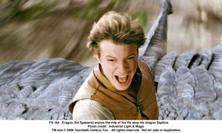 Eragon (Ed Speleers) enjoys the ride of his life atop his dragon Saphira. Photo credit: ILM