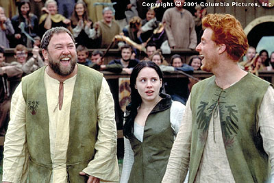 A Knight's Tale (From left to right) Roland (Mark Addy), Kate (Laura Fraser) and Wat (Alan Tudyk) are three of William's biggest fans in the Columbia Pictures presentation, A Knight's Tale - 2001