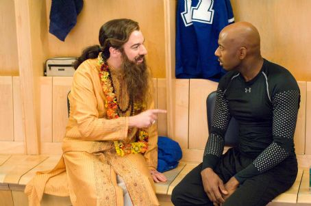 Romany Malco Guru Pitka (Mike Myers, left) counsels distraught hockey star Darren Roanoke (, right) in the comedy 'The Love Guru.' Photo Credit: George Kraychyk. Copyright (c) 2008 by PARAMOUNT PICTURES. All Rights Reserved.