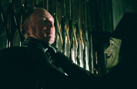 "Tim Pigott-Smith  as Creedy and HUGO WEAVING as V in Warner Bros. Pictures' and Virtual Studios' action thriller ""V for Vendetta,"" distributed by Warner Bros. Pictures. The film stars Natalie Portman. Photo by Juliana Malucelli"