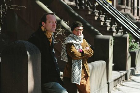 John Benjamin Hickey  as Jack Dunphy and Toby Jones as Truman Capote in director Douglas McGrath's Infamous, a Warner Independent Pictures release.   Photo Credit: Deana Newcomb © 2005 Warner Bros. Entertainment Inc.