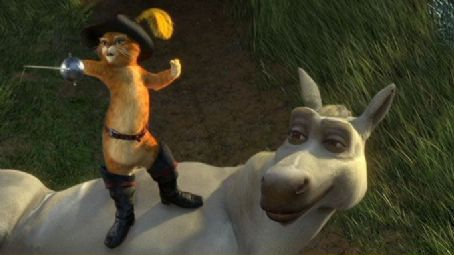 Puss in Boots  (voiced by Antonio Banderas) and Donkey (voiced by Eddie Murphy) in DreamWorks Animation's Shrek the Third - 2007