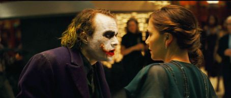 "Joker HEATH LEDGER stars as The  and MAGGIE GYLLENHAAL stars as Rachel Dawes in Warner Bros. Pictures' and Legendary Pictures' action drama ""The Dark Knight,"" distributed by Warner Bros. Pictures and also starring Christian Bale, Mi"