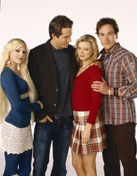 Jamie Palamino Anna Faris, Ryan Reynolds, Amy Smart, and Chris Klein in 'Just Friends.'