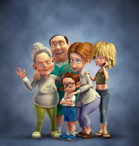 Cheri Oteri (Left to right) Mommo Nickle (voiced by LILY TOMLIN), Fred Nickle (voiced by LARRY MILLER), Lucas Nickle (voiced by ZACH TYLER EISEN), Doreen Nickle (voiced by CHERI OTERI) and Tiffany Nickle (voiced by ALLISON MACK) in Warner Bros. Pictures' and Le