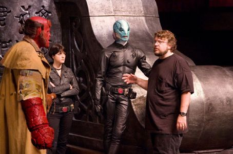 Doug Jones Ron Perlman, Selma Blair,  and director Guillermo del Toro on the set of Hellboy 2: The Golden Army