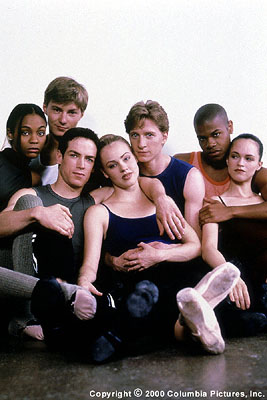 Center Stage The talented young cast of the Columbia Pictures presentation  (2000) strikes a pose: (From left to right) Zoe Saldana (