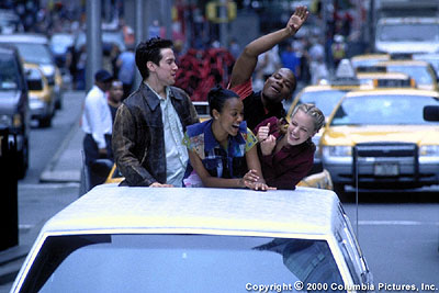 Center Stage (From left to right) Leaving the disciplines of ballet behind, dance students Charlie (Sascha Radetsky), Eva (Zoe Saldana), Erik (Shakiem Evans) and Jody (Amanda Schull) cut loose on a limo ride through midtown Manhattan in Columbia's  - 2