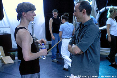 Center Stage Director Nicholas Hytner (right) discusses a scene with young star Ethan Stiefel (