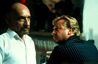 Sexy Beast Ben Kingsley as Don Logan and Ray Winstone as Gal Dove in Fox Searchlight's  - 2001