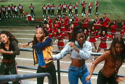 Brandi Williams The East Compton Clovers - Jenelope (Natina Reed), LaFred (), Isis (Gabrielle Union) and Lava (Shamari Fears) - bust some moves in front of the Rancho Carne Toros in Universal's Bring It On - 2000