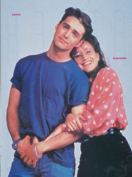 Brandon Walsh Jason Priestley as  and Gabrielle Carteris as Andrea Zuckerman in Beverly Hills,90210 (1990)
