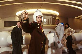 The Hitchhiker's Guide to the Galaxy Martin Freeman as Arthur Dent, Sam Rockwell as Zaphod Beeblebrox and Mos Def as Ford Prefect in Disney Pictures' adventure The Hitchhiker's Guide to the Galaxy, directed by Garth Jennings.