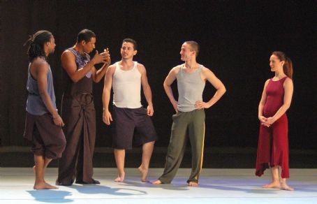 Orlando Jones with dancers in Misconceptions.