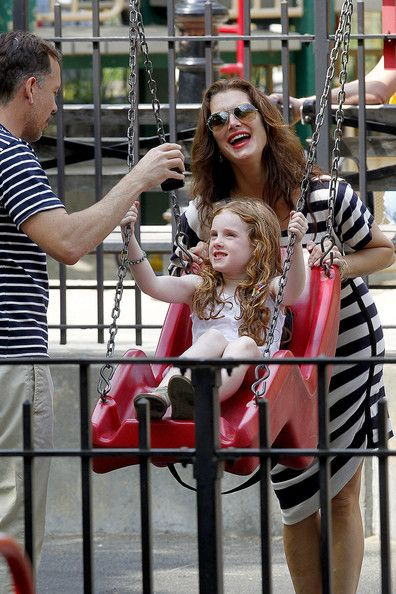 Brooke Shields and Daughters at the Park